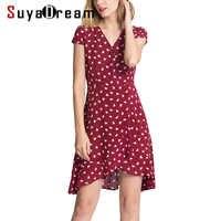 Women MINI dress Luxury 100% Real silk Short sleeved Hearts Printed dresses 2018 Summer Burgundy