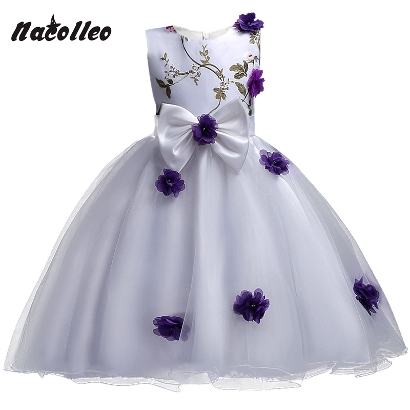 New Flower Design Girls Party Dress Kids Flower Appliqued Big Bow Princess Costume for Girls Wedding Birthday Christmas Ceremony big flower girl birthday party dress costume girls princess dot sequin snowflake children s place big girls heart collar dress