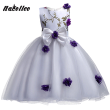New Flower Design Girls Party Dress Kids Flower Appliqued Big Bow Princess Costume for Girls Wedding Birthday Christmas Ceremony