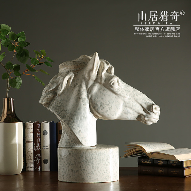 Oversized Ceramic Horse Head Figurine Home Decor Crafts Room Decoration Objects Vintage Ornament Porcelain Animal