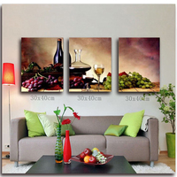 Grape Wine Diamond Embroidery Triptych Fruits 5D Picture With Rhinestone Diamond Painting Cross Stitch Kit DIY Foamiran For Home