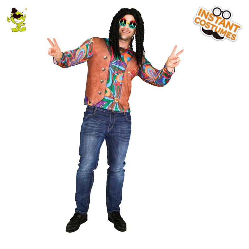 Mens Multicoloured Hippie Shirt Fancy Dress 60s