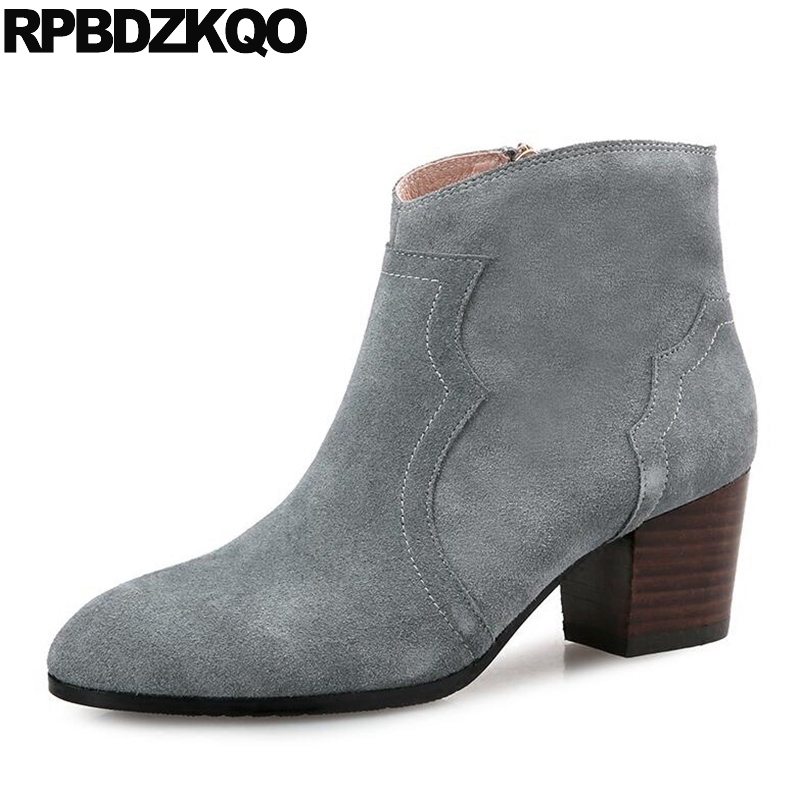 Pointed Toe Gray Ankle 2017 Genuine Leather Casual Chunky 10 Booties 12 44 High Heel Winter Shoes Suede Big Size Side Zip Boots women ankle boots medium heel shoes high autumn suede retro lace up pointed toe booties fall chunky 2017 grey vintage genuine