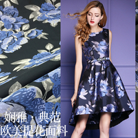 New140cm wide fashion dress Puff skirt trench coat jacquard fashion fabric satin flowers senior senior custom fabric