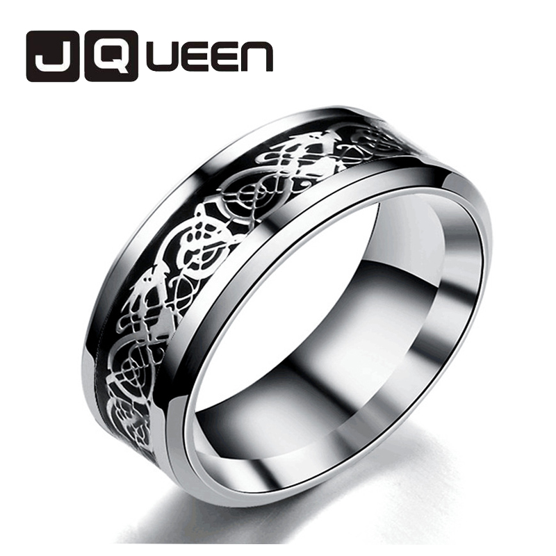 Vintage 3 Colors Dragon Design Stainless Steel Ring Mens Jewelry Wedding Band Male Ring for Lovers Free Shipping
