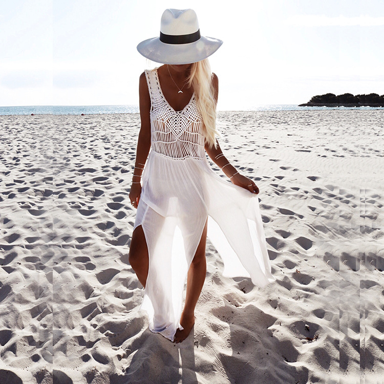 2018 Summer Sexy Bikini Cover Lace Hollow Crochet Swimsuit Beach Dress Women Ladies Bathingsuit Beach Wear Maxi Split Dresses