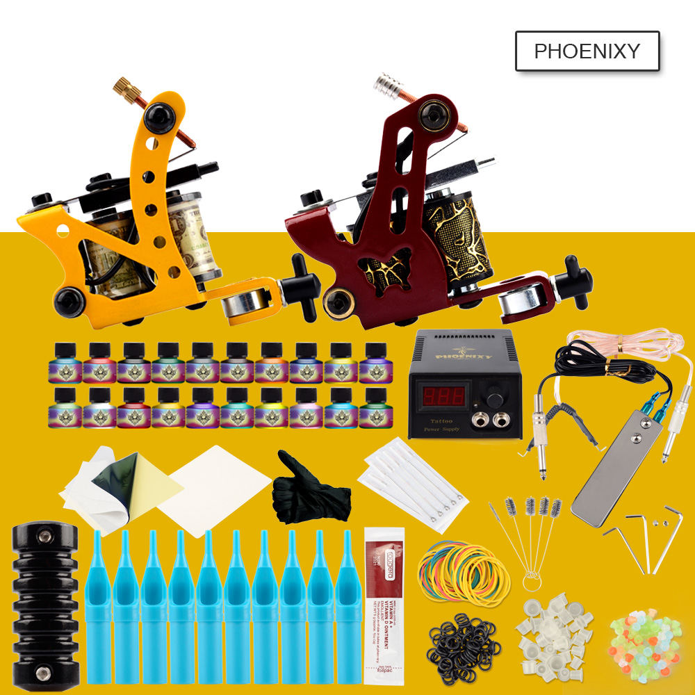 Complete Tattoo Kit 2 Machines Gun Set 20 Colors Inks LCD Power Supply Needles Supplies Permanent Makeup Tattoo Manicure Kit SetComplete Tattoo Kit 2 Machines Gun Set 20 Colors Inks LCD Power Supply Needles Supplies Permanent Makeup Tattoo Manicure Kit Set