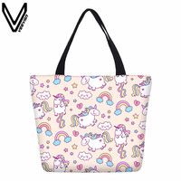 VEEVANV 3D Printing Unicorn Shopping Bag For Girls Women Pink Canvas Cotton Tote Bags Summer Beach