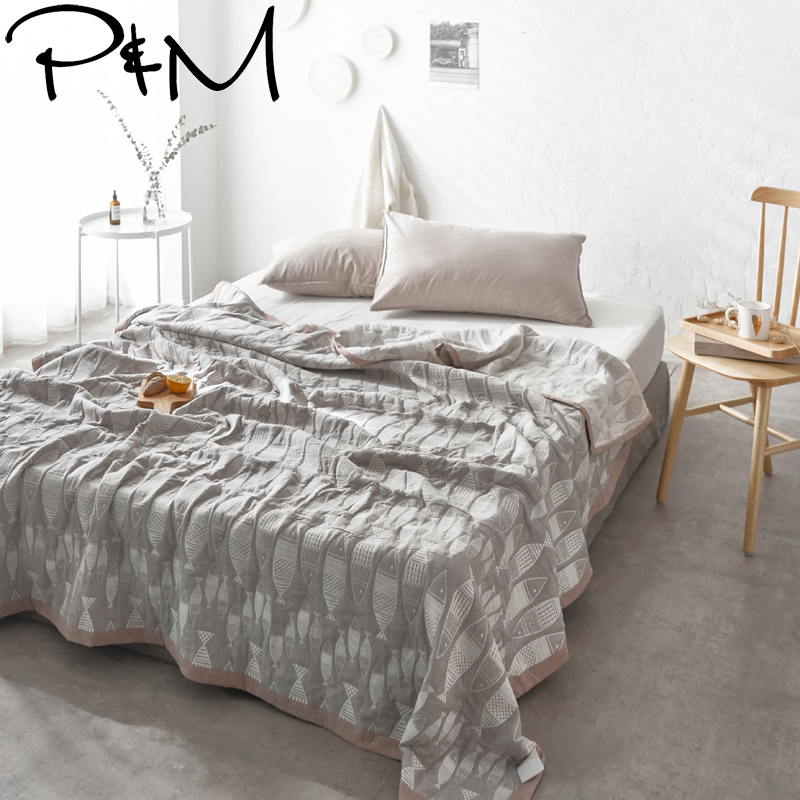 Papa Mima Quilting Summer Quilt Twin Queen Size Small fish print Simple style Throws Blanket Cotton