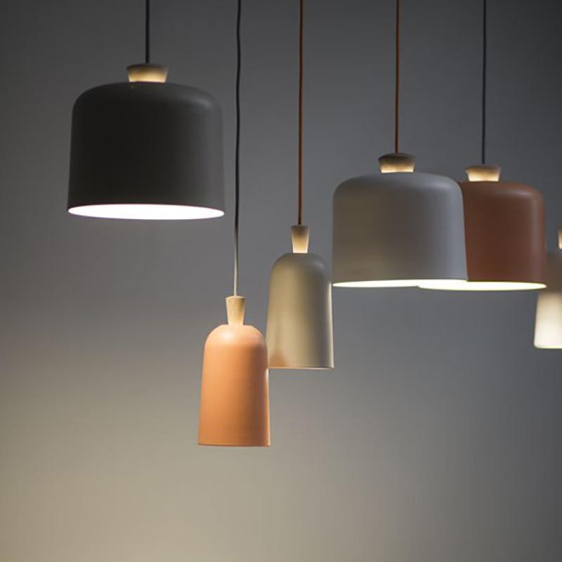 designer colorful iron pendant light for restaurant bar coffee shop personality simple single head droplight E27