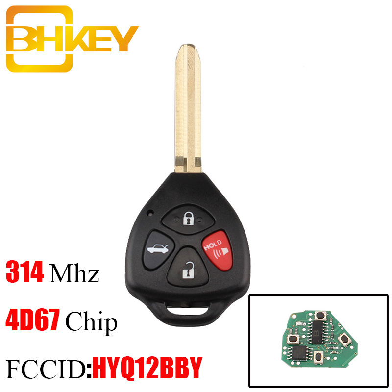BHKEY 315Mhz <font><b>Remote</b></font> <font><b>key</b></font> For <font><b>Toyota</b></font> HYQ12BBY For <font><b>Toyota</b></font> Camry Avalon Corolla Matrix RAV4 Venza <font><b>Yaris</b></font> 4D67 or G Chip optional image