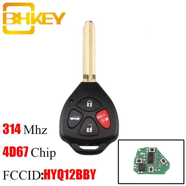 BHKEY 315Mhz llave remota para Toyota HYQ12BBY para Toyota Camry Avalon, Corolla Matrix RAV4 Venza Yaris 4D67 o G Chip opcional