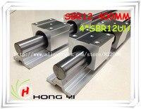 2 Pcs SBR12 L 400mm Linear Rails 4 Pcs SBR12UU Straight Line Motion Block For SFU1204
