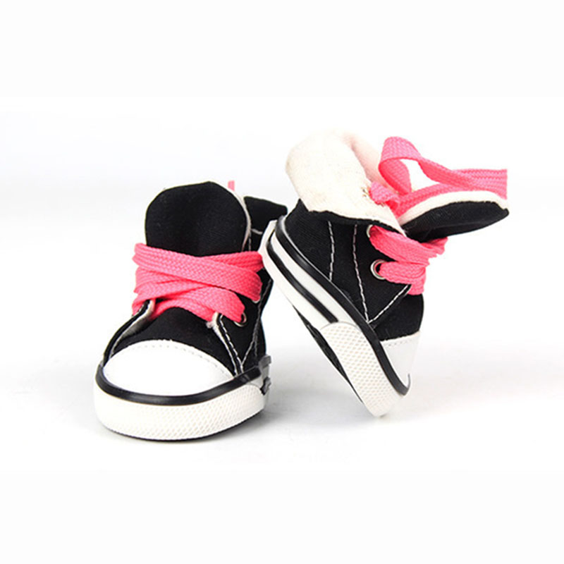 Pet Dog Canvas Sport Shoes Sneaker Boots Small Dog Outdoor Nonslip Causal Shoes with Rubber Sole and Soft Cotton Inner Fabric