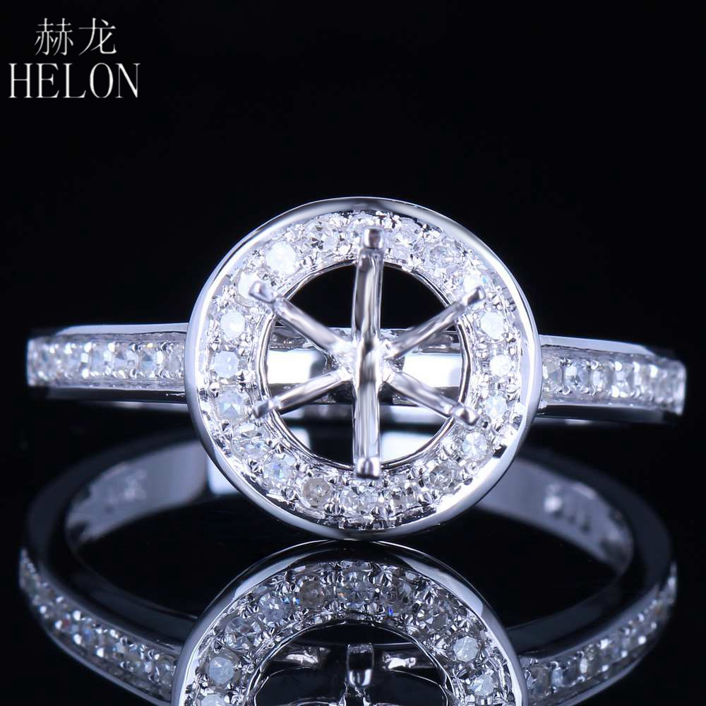 HELON Solid 14K Rose Gold SI/H Natural Diamonds Wedding Ring Round 6-6.5mm Semi Mount Engagement Ring Women Trendy Fine JewelryHELON Solid 14K Rose Gold SI/H Natural Diamonds Wedding Ring Round 6-6.5mm Semi Mount Engagement Ring Women Trendy Fine Jewelry