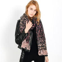 High Quality Colorful 3D Leopard Print Shawl Winter Cashmere Scarf For Women Warm Thick Soft Knit Oversized Femal Scarves