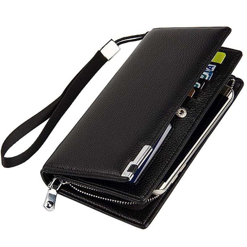 Hot Brand Business Men s Clutch Wallets High Quality Leather Wallet Zipper Hasp Men Clutch Bag
