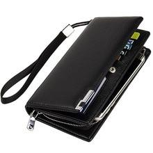 Hot Brand Business Men's Clutch Wallets High Quality Leather Wallet Zipper&Hasp Men Clutch Bag Card Holder Coin Purse Men 2016