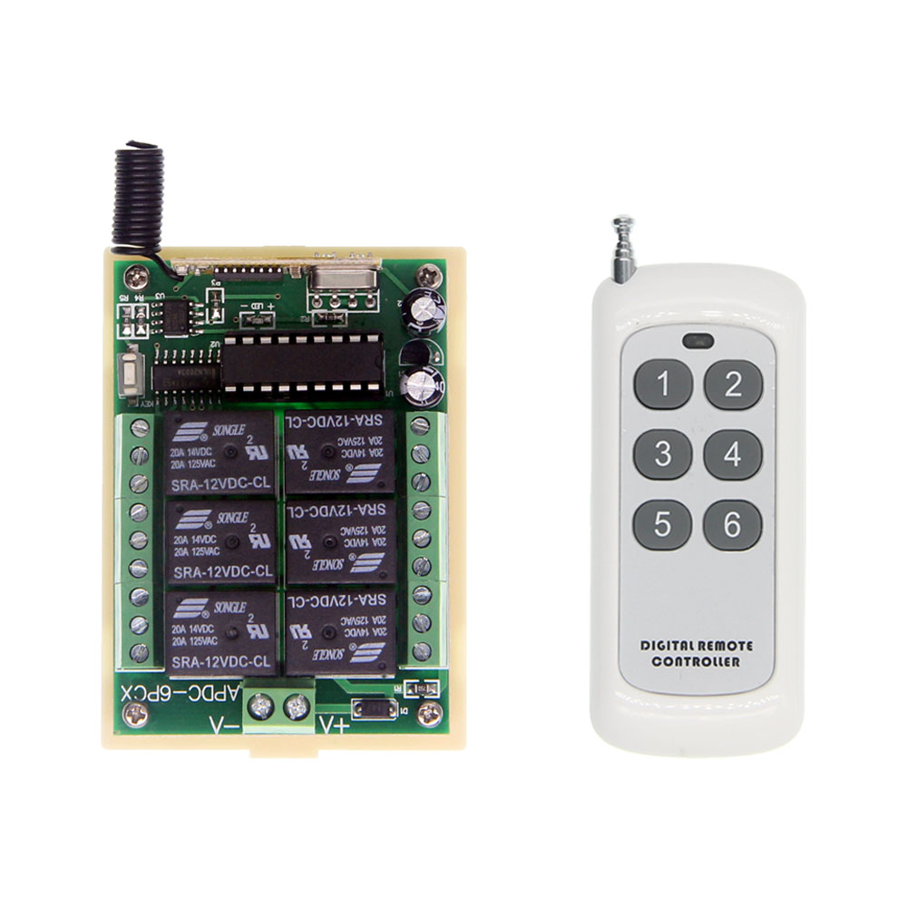 6CH DC 6V 9V 12V 24V RF Remote Control Switch 6 Functions Range 500M