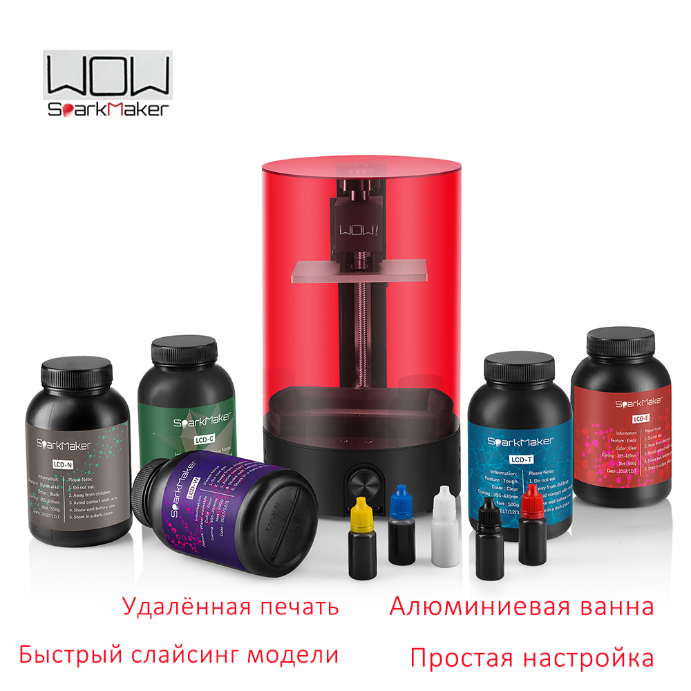LCD 3d printer WOW sparkmaker light curing UV Resin SLA express shipping from Moscow Russian warehouse