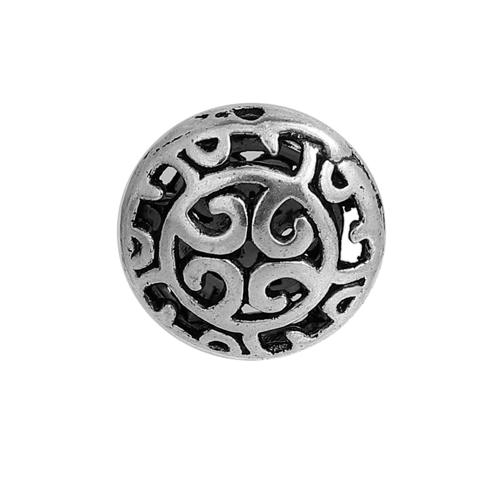 DoreenBeads Zinc Based Alloy Antique Silver Spacer Beads Round Hollow DIY Components About 16mm Dia, Hole: Approx 1.2mm, 10 PCs