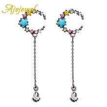 цена на Ajojewel Multicolor Crystal Rhinestone Star Moon Earrings Cute Jewelry For Girls Women