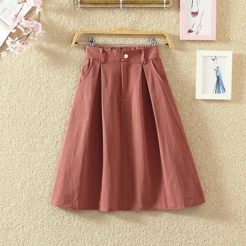 ROPALIA Harajuku Skirt WomenCasual High Waist Skirts Womens Solid Color Girls A Line Mid Fashion Skirts