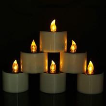 6Pcs/Set Solar Powered LED Candles Flameless Electronic LED Tea Lights Lamp Home Party Supplies LB88