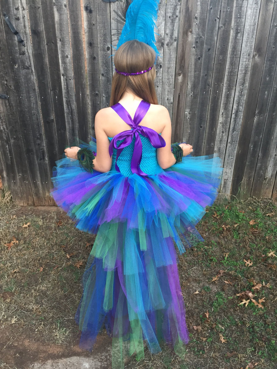 Peacock Tutu Dress For Girls Pageant Birthday Party Ball Gown Baby Girls Peacock Vestidos Children Purim Clothes Photo Props (2)