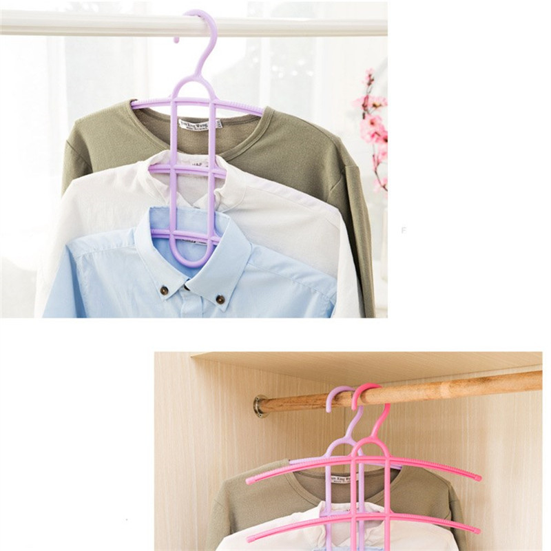 Doreen Box Multifunctional 4 Colors Three Layer Anti-skid Plastic Clothes Hanger Rack Wardrobe Wet and Dry Drying Hanger 1PC