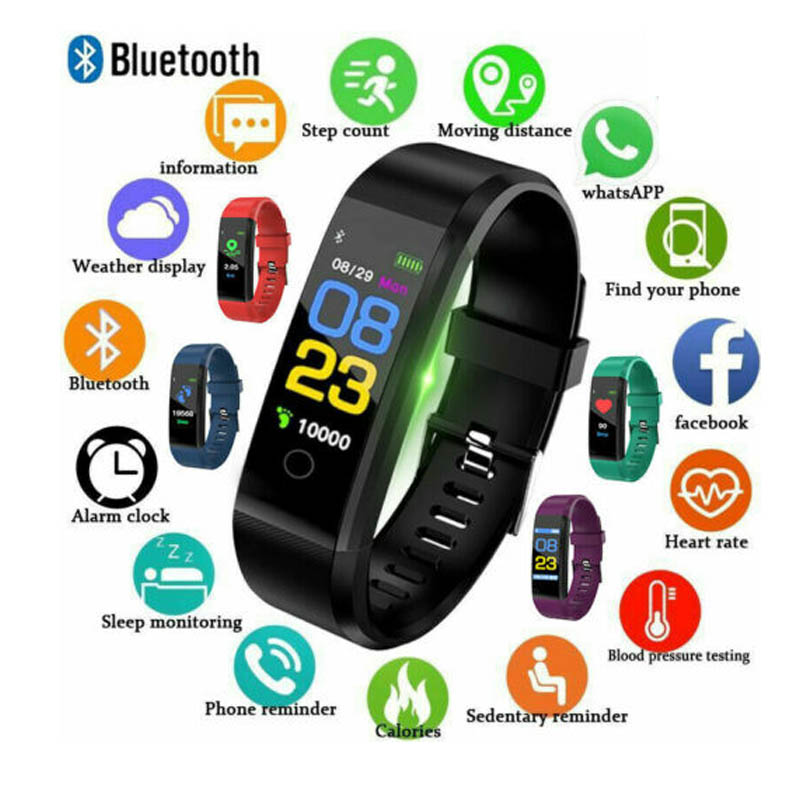 Sport Watch Pedometer Monitor Blood-Pressure-Tracker Heart-Rate Color-Screen Fitness