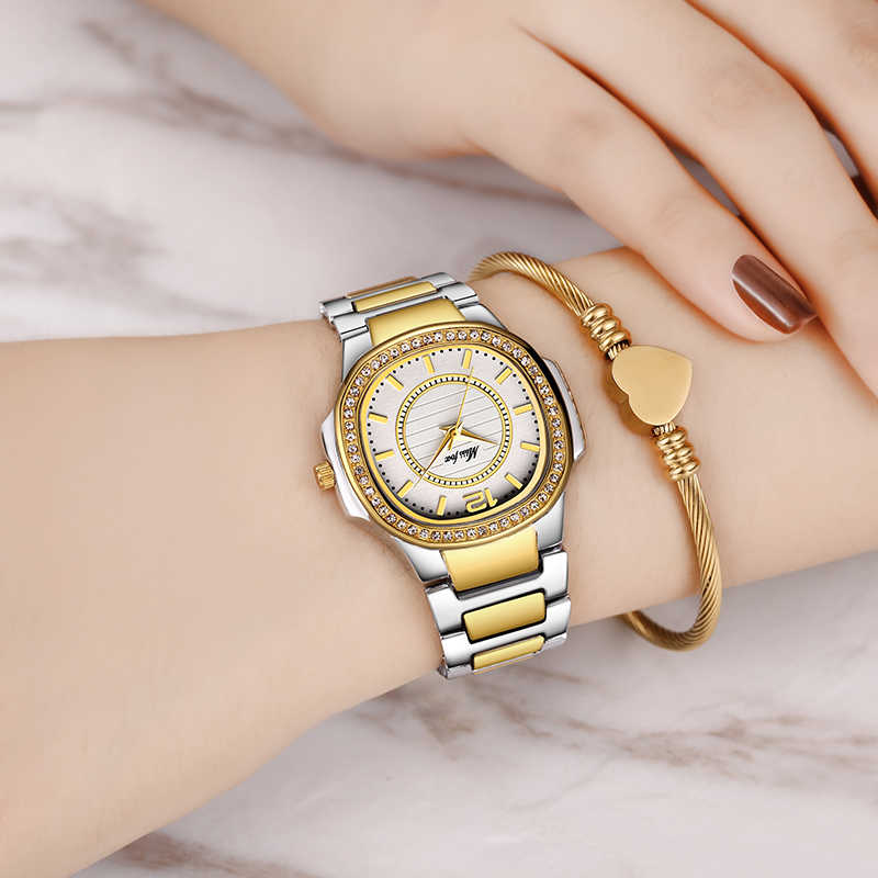 Relojes de marca de diseñador de lujo para mujer, relojes de moda para mujer, relojes de cuarzo con diamantes y oro, regalos de Navidad para mujer