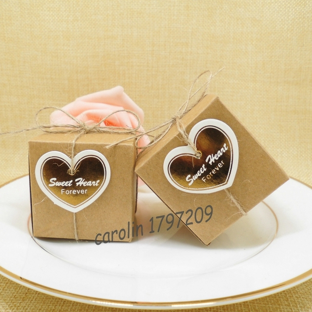 50pcs Kraft Square Candy Box With Sweet Heart Forever Holder Bags Wedding Party