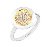 Signature Rings with 14K Real Gold & Clear CZ 100% Authentic 925 Sterling Silver Jewelry Free Shipping