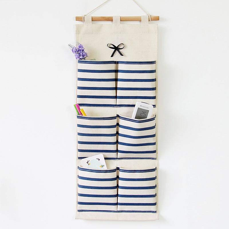 Organizer Sale Bolsas De Marca 2015 Retro Zakka Striped Hanging Storage Bag 6 Pockets Sundries Organiz Box For Home Decoration
