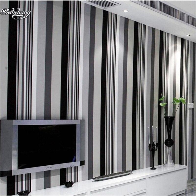Beibehang Moderne eenvoudige zwart wit grijs verticale