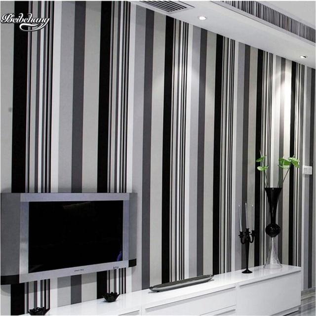 Beibehang Moderne eenvoudige zwart wit grijs verticale gestreepte ...