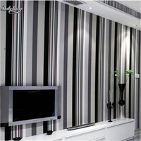 Beibehang Modern Simple Black And White Gray Vertical Striped Wallpaper Bedroom Living Room TV Background Wallpaper