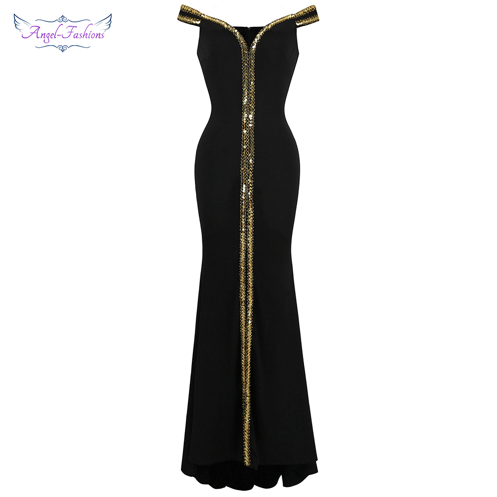 Angel-fashions Women's Boat Neck Formal Black Dress Gold Sequin Slit  Evening Dress Long 398