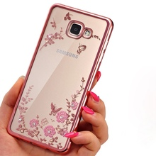 Фотография Clear Frame Cover For Samsung Galaxy A3 A5 A7 2016 2015 J3 J5 J7 Grand Prime S4 S5 S6 S7 edge Flower Bling Diamond Soft Cases