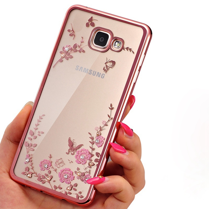 Clear Frame Cover For Samsung Galaxy A3 A5 A7 2016 2015 J3 J5 J7 Grand Prime S4 S5 S6 S7 edge Flower Bling Diamond Soft Cases