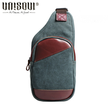 UNISOUL 2016 Small Chest bag Canvas Male Vintage Messenger bags Casual Men's crossbody bag Travel Simple bag for Men