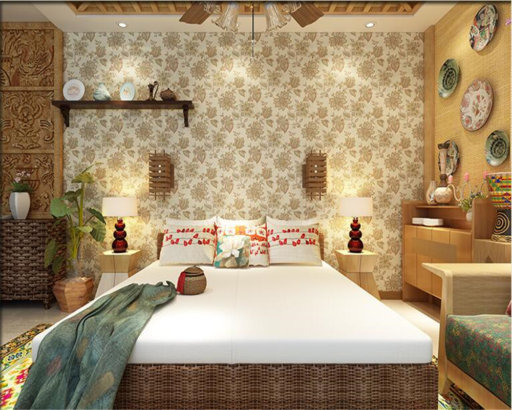 beibehang American village retro pure paper wallpaper personality big flower tapety 3d wallpaper bedroom living room background