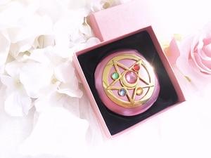 Image 5 - Sailor Moon Crystal Pink Metal Compact Mirror Case Moonlight Memory Series Women Girls Cosplay Cosmetic Make up Mirror + Box