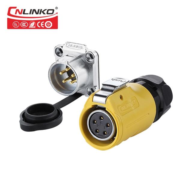 CNLINKO LP20 5pin wodoodporne złącze IP67 5 pinowe złącze zasilania szybkie blokowanie do szybkiego łączenia mocowanie panelu wtyk męski gniazdo żeńskie