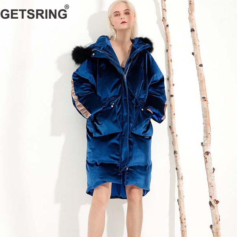 Manteaux Femmes Longues blue 2018 Hiver Manches Apricot Getsring Velours D hiver  Parka Épaissie Capuche À Lâche Veste Rembourré 5fUq7T7d 40fbd88f04ce
