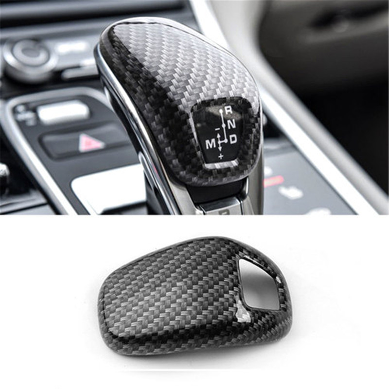 BBQ@FUKA Carbon Fiber Style Car Gear Hand Shift Knob Cover Trim for Porsche Panamera Car Interior Accessories Styling