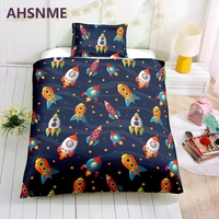 AHSNME Special Promotion! ! ! Cartoon Rocket Bedding Set Spaceship Space Shuttle Quilt Cover Home Textiles