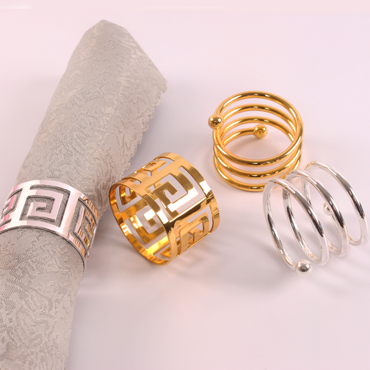 Stainless Steel Napkin Ring Cloth Ring Napkin Buckle Wedding Western Holiday Table Decoration Silver Double Line Water Drops Set of 4