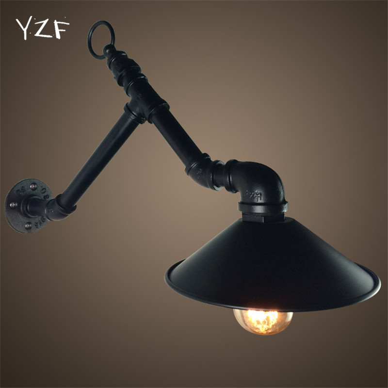 ФОТО YZF New Retro Industrial Wind Bar Cafe bulb E27 Creative Restaurant Clothing Store Iron River Underground Works Wall Lamps